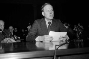 """Col. Charles A. Lindbergh tells the House Foreign Affairs Committee that a German air invasion of the United States and the landing of troops is """"absolutely impossible,"""" January 23, 1941. (AP)"""
