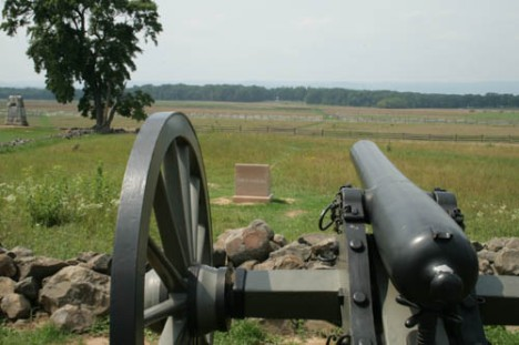 View from Cemetery Ridge looking down on the field of Pickett's Charge