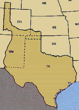 Of the land claimed by Texas after annexation (left), about 1/3 was ceded to the U. S. in exchange for $10 million in the Compromise of 1850.