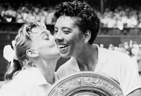 Althea Gibson defeated Darlene Hard in 1957 to win the first of her two consecutive Wimbledon titles