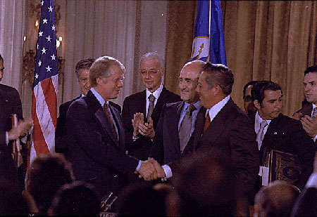 Jimmy Carter and Omar Torrijos at the September 7th signing ceremony. (Jimmy Carter Library)