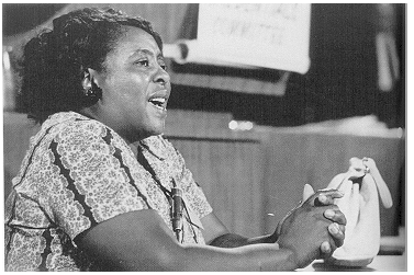 Fannie Lou Hamer testifying at the Democratic Party convention in Atlantic City in 1964