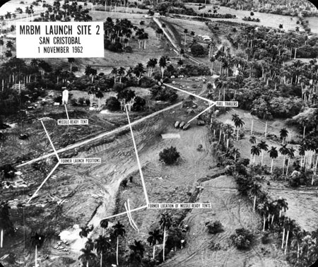 Aerial view of missile launch site at San Cristobal, Cuba. (John F. Kennedy Library)