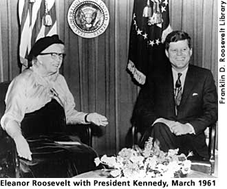 Eleanor Roosevelt and John Kennedy, March 1961