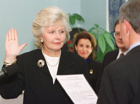 Justice Margaret Marshall is sworn in as the first female chief justice of the Massachusetts Supreme Judicial Court in 1999.