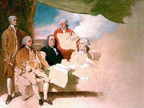 Benjamin West's painting of the delegations at the Treaty of Paris: John Jay, John Adams, Benjamin Franklin, Henry Laurens, and William Temple Franklin. The British delegation refused to pose, and the painting was never completed.
