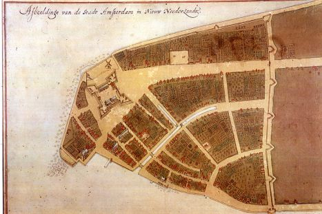 The original city map of New Amsterdam called Castello Plan from 1660 (the bottom left corner is approximately south, while the top right corner is approximately north)