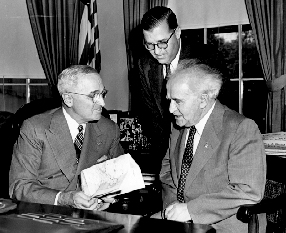 President Truman meeting on May 8, 1951 with Prime Minister David Ben Gurion of Israel and Diplomat Abba Eban.