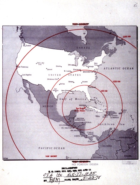 Map of the western hemisphere showing the full range of the nuclear missiles under construction in Cuba, used during the secret meetings on the Cuban crisis.