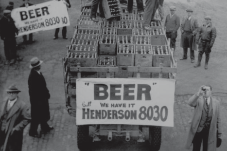 Happy Cleveland residents celebrate the arrival of the first beer shipment to their city on April 9, 1933