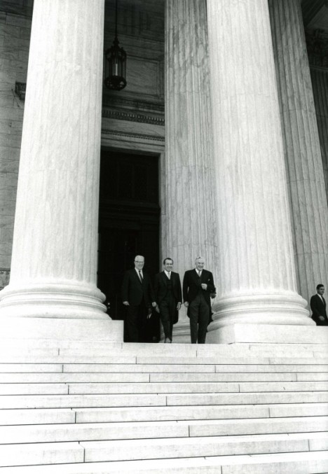 President Nixon with former Chief Justice Earl Warren and newly appointed Chief Justice Warren E. Burger