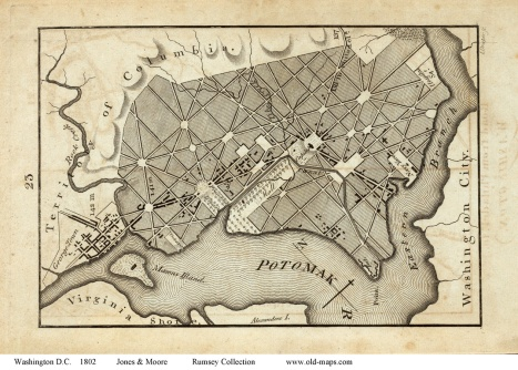1802 Map of Washington, D.C. by Jones & Moore, Rumsey Collection