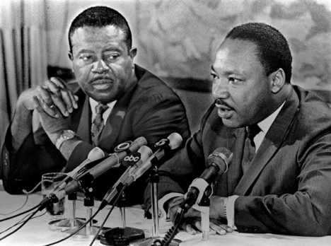 "Dr. Martin Luther King Jr. and Rev. Ralph Abernathy (left) speak to the media Friday March 29, 1968 at the Holiday Inn-Rivermont. ""We are going to have a massive nonviolent demonstration in Memphis,"" said Dr. King before flying back to Atlanta."
