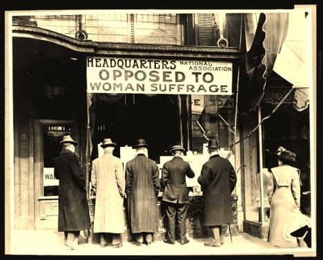 Men Looking in Window of National Anti-Suffrage Association. 1911. Photographer Harris & Ewing. Library of Congress Prints and Photographs Division Washington, D.C.