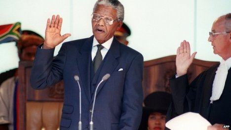 Nelson Mandela at his inauguration, May 10, 1994