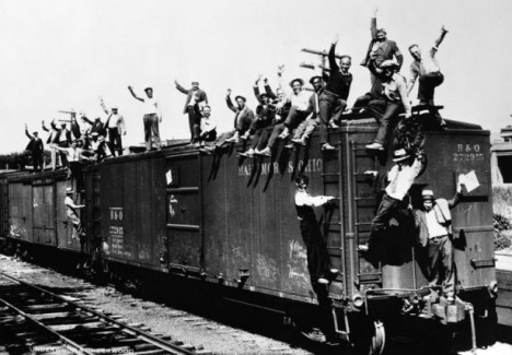 World War I veterans aboard a freight train headed to Washington, D.C. to join the Bonus Army