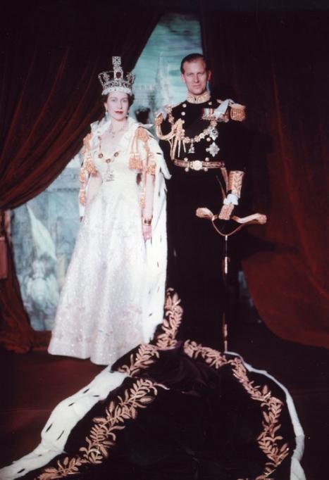 Queen Elizabeth II and Prince Philip, Duke of Edinburgh. Coronation portrait, June 1953, London, England