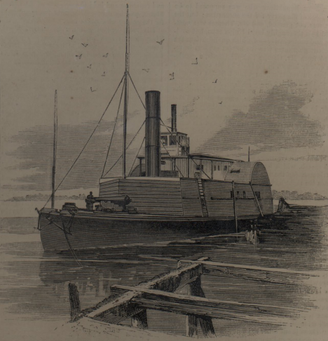 Rendering of the Gunboat Planter, artist unknown - Harper's Weekly, June 14, 1862, p. 372