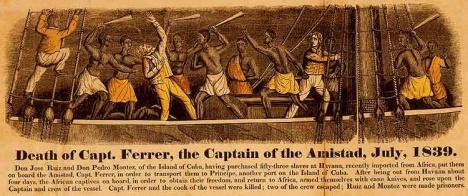 1840 engraving depicting the Amistad revolt