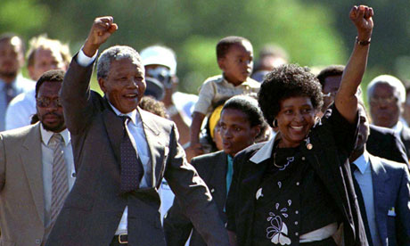 Nelson and Winnie Mandela give a clenched fist salute as the ANC leader is released from prison on 11 February 1990. Photograph: Reuters