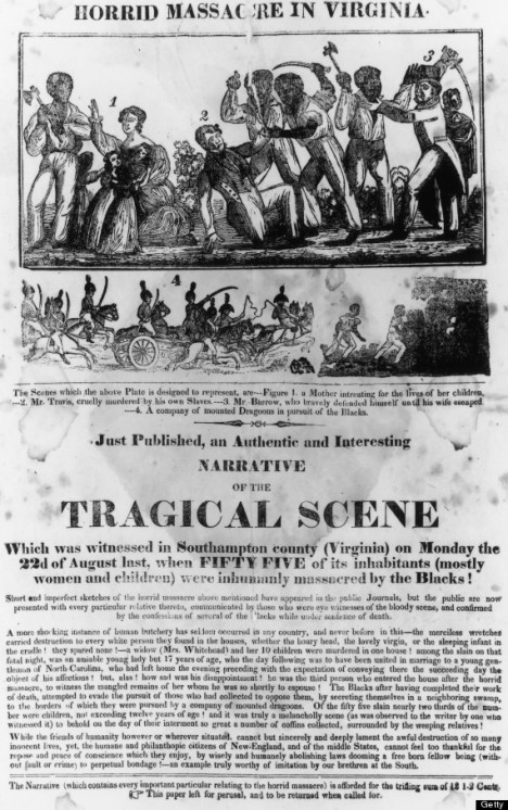 An engraving with text depicting the Horrid Massacre in Virginia during Nat Turner's Rebellion circa 1831. Black Males are seen Attacking White Males, Females and Children.  (Photo by Fotosearch/Getty Images)
