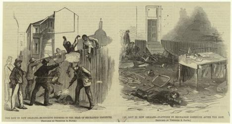 The riot in New Orleans – murdering negroes in the rear of Mechanics' Institute ; Platform in Mechanics' Institute after the riot, Harper's Weekly, 1866