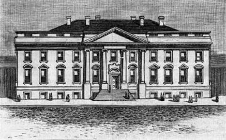 The original design of the White House in 1800 (Library of Congress)