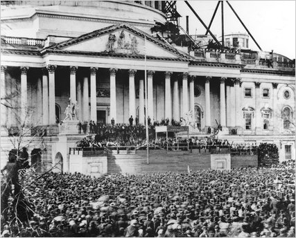 Abraham Lincoln delivered his first Inaugural Address on the East Portico of the Capitol