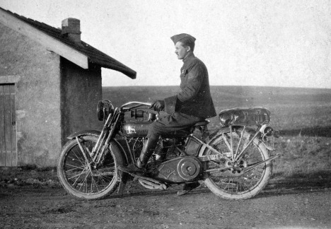 Soldier on a U.S. Harley-Davidson motorcycle, ca. 1918. During the last years of the war, the United States deployed more than 20,000 Indian and Harley-Davidson motorcycles overseas. (San Diego Air and Space Museum)