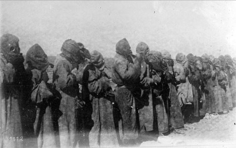 Gas masks in use in Mesopotamia in 1918. (Bibliotheque nationale de France)