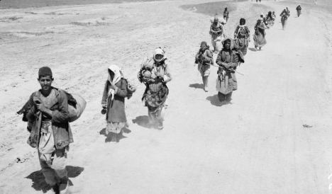 Armenians who escaped from the Turkish starvation zone approaching the British lines for protection, courtesy of the Imperial War Museum