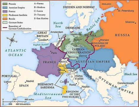 The national boundaries within Europe as set by the Congress of Vienna, 1815