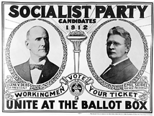 Campaign poster from his 1912 Presidential campaign, featuring Debs and Vice Presidential candidate Emil Seidel