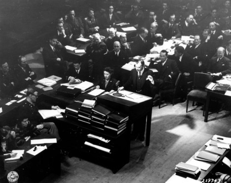 Justice Jackson delivering the opening statement to the IMT on November 21, 1946  Credit: U.S. Army  Signal Corps