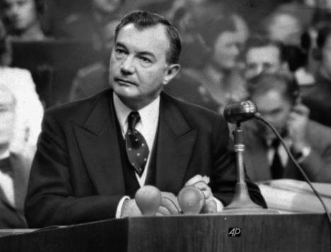 1946 photo of Chief U.S. prosecutor Robert H. Jackson seen during summation statements at the International War Crimes Tribunal at Nuremberg, Germany.   (AP Photo)