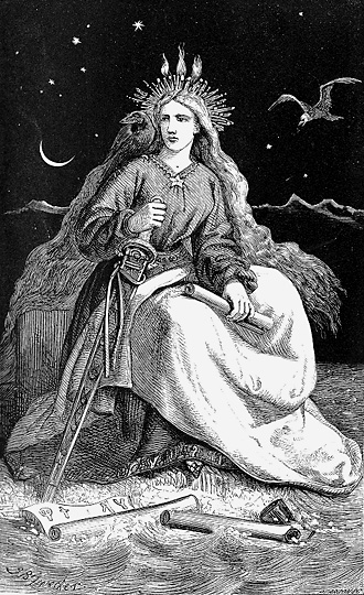 The first surviving drawing of the Lady of the Mountains, Johann Baptist Zwecker, from Icelandic Legends (1866)