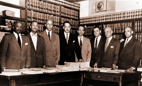The legal team in the Brown v. Board of Education case, which included former Associate Justice of the U.S. Supreme Court Thurgood Marshall (4th from left) and Jack Greenberg  (3rd from right)