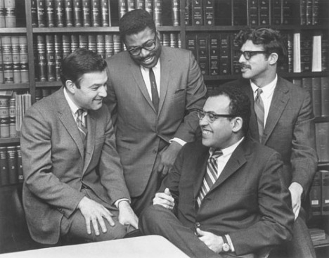 Four LDF lawyers in 1964 (from left, clockwise) Jack Greenberg, Norman Amaker, James M. Nabritt III, and the author. (Courtesy NAACP Legal Defense and Education Fund, Inc.)