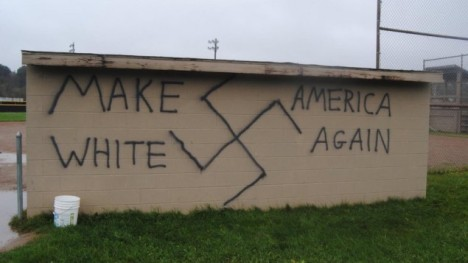 Nazi/KKK-themed graffiti found in the town of Wellsville, New York, on the same day that Donald Trump won the presidential election on November 9, 2016.