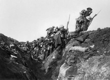 "British soldiers ""going over the top"", or leaving their trenches in the Battle of the Somme"