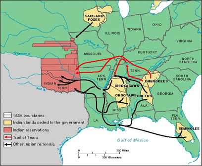 Map of United States Indian Removal, 1830-1835.