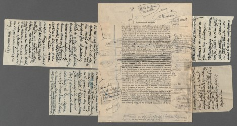 """This draft page from Ruthenberg v. Michigan illustrates Brandeis' process when crafting a Supreme Court opinion. Former clerk, Paul Freund explained """"An opinion developed like a coral reef; it might go through dozens of revisions and accretions."""" Brandeis Papers, Harvard Law School, Box 44, Folder 6"""