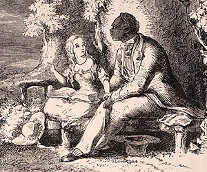 """Little Eva reading the Bible to Uncle Tom in the arbor"": illustration from the first edition"