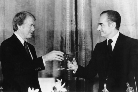President Jimmy Carter and the shah of Iran, Mohammed Reza Pahlavi, at a state dinner in Iran in 1977.