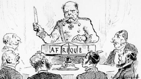 Belgium's King Leopold II dividing up the spoils  of Africa and claiming the Congo as his own private state.