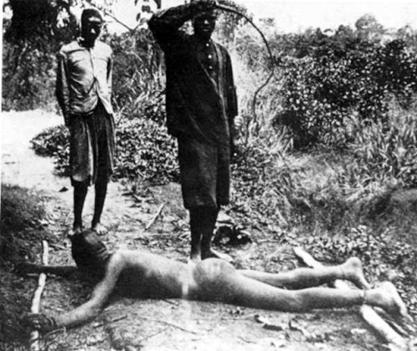 Congolese villager being whipped with chicotte (a whip made with dried hippopotamus skin having razor sharp edges), likely for not meeting his rubber collection quota.