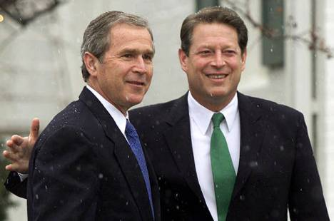 President-elect George W. Bush meets with Vice President Al Gore at Gore's official residence in Washington, Dec. 19, 2000. (Credit: AP/J. Scott Applewhite)