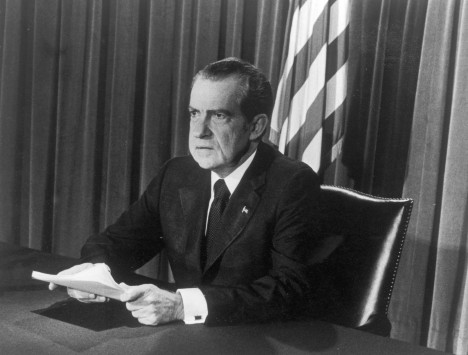 U.S. President Richard M. Nixon as he announces his resignation on television  (Photo by Hulton Archive/Getty Images)