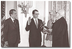 Elliot Richardson is sworn in as Secretary of Defense in February of 1973.