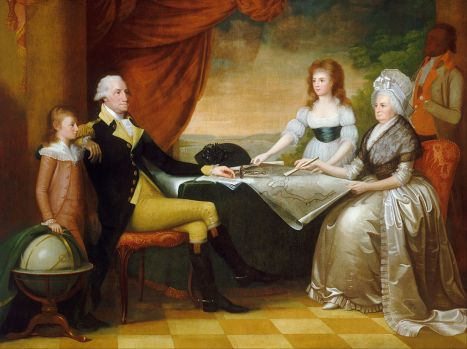 "Mellon Collection, National Gallery of Art ""The Washington Family"" by Edward Savage, painted between 1789 and 1796, shows (from left to right): George Washington Parke Custis, George Washington, Nelly Custis, Martha Washington, and an enslaved servant (probably William Lee or Christopher Sheels)."